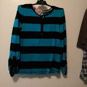 Justice size 12 blue striped Henley